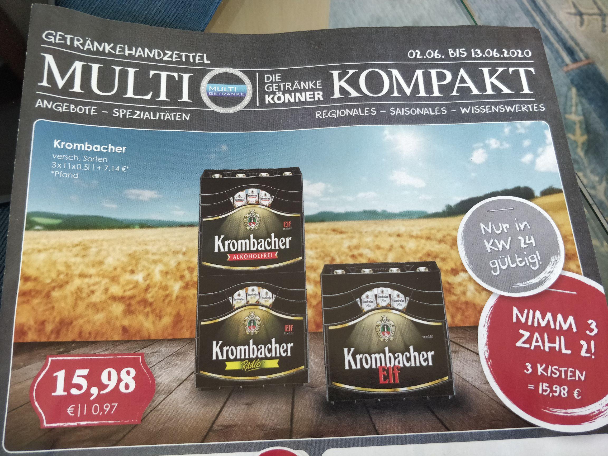 Krombacher 3x11 zum Preis von 2x11(umgerechnet 9,70€ pro 20er Kasten)