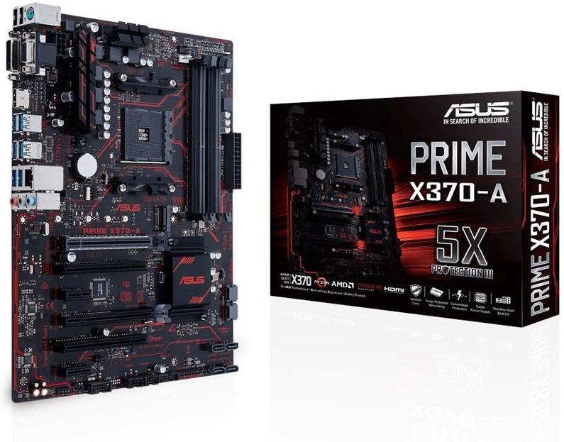 Asus PRIME X370-A Mainboard Sockel AMD AM4 Formfaktor ATX Mainboard-Chipsatz AMD® X370
