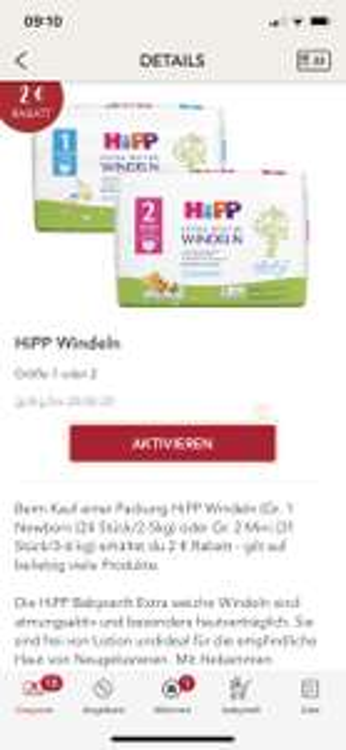 HIPP Windeln 1+2 , 2€ Rabatt