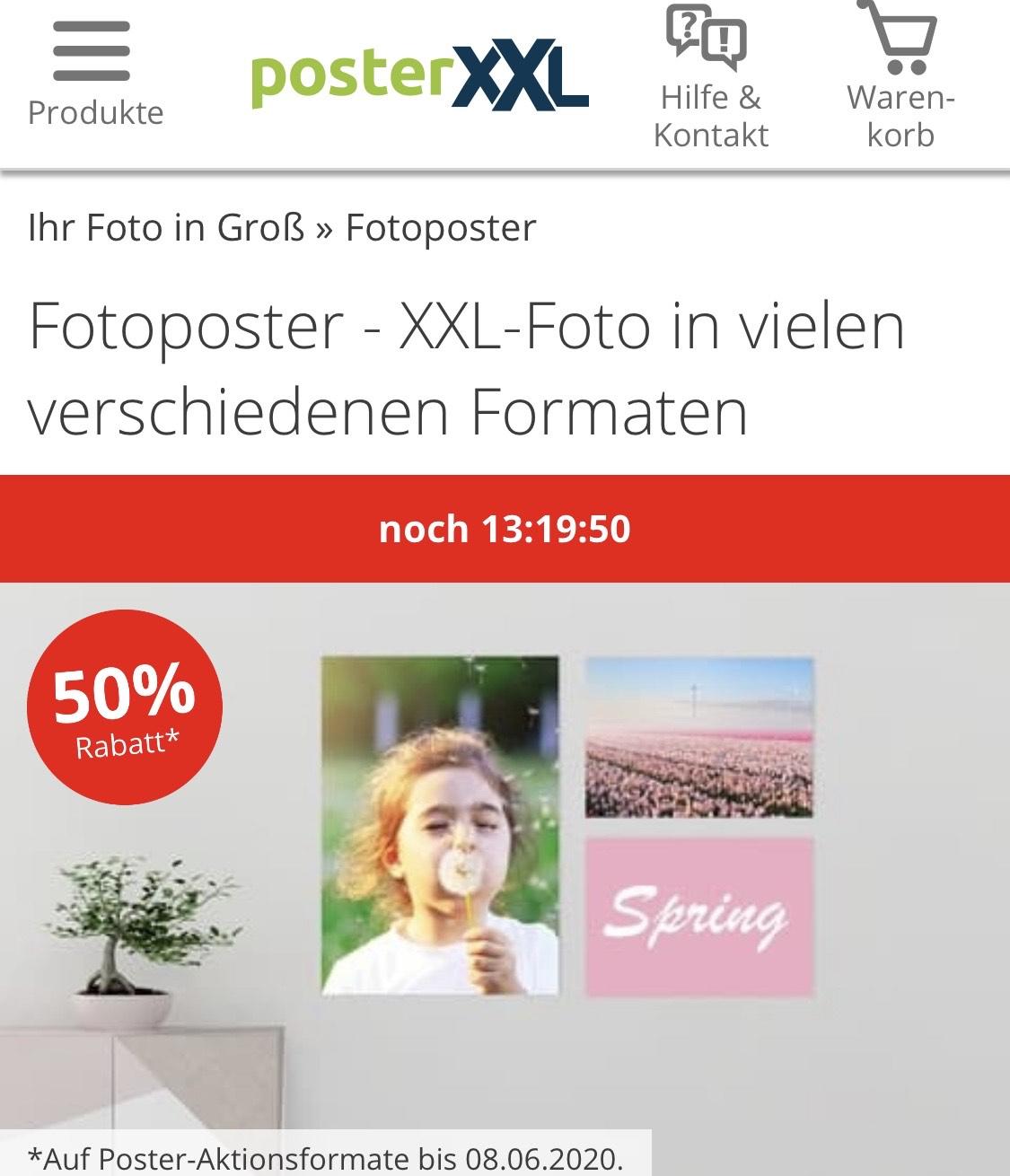 50% bei posterXXL Bilder drucken lassen