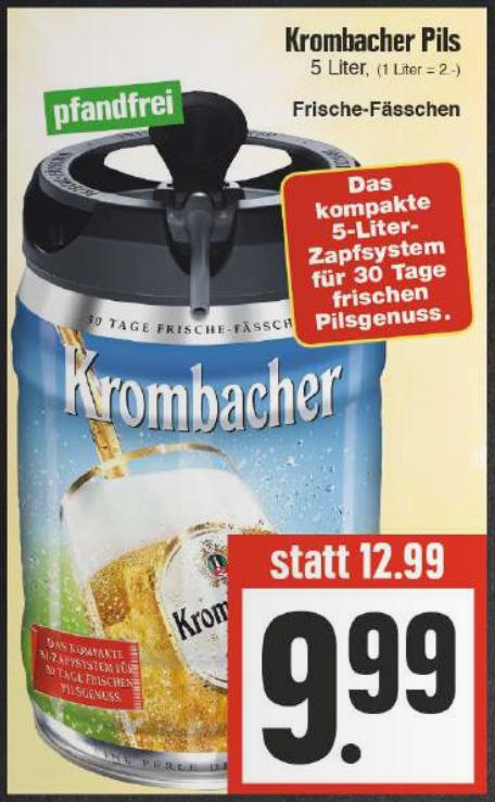 Krombacher Pils Partyfass 5L mit CO2-Zapfsystem für nur 9,99€ ab 08.06. [EDEKA Hessenring]