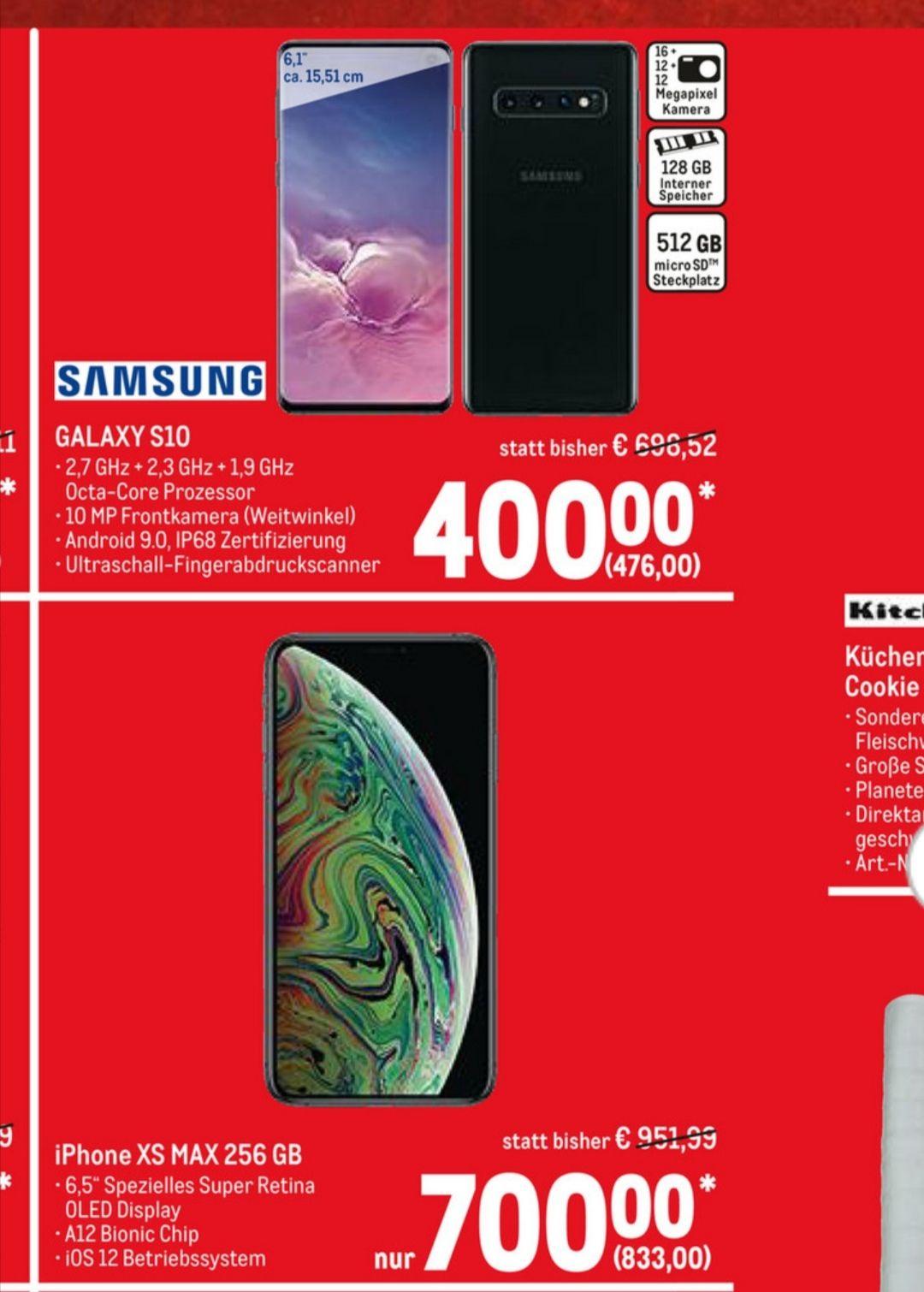 Stationärer METRO SALE Apple iPhone Xs Max256GB für 833 €, Samsung S10 128 GB 476 € / 10 € Newsletterrabatt möglich/ für Karteninhaber