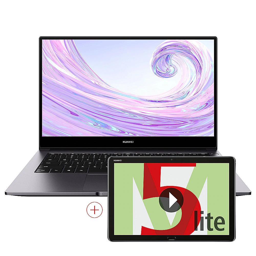 Huawei MateBook D 14 Space Grey 2020 (Ryzen 7 3700U, 8GB RAM, 512GB SSD, Vega 10, USB-C) 53010WXN + Huawei MediaPad M5 Lite 10 32GB grau