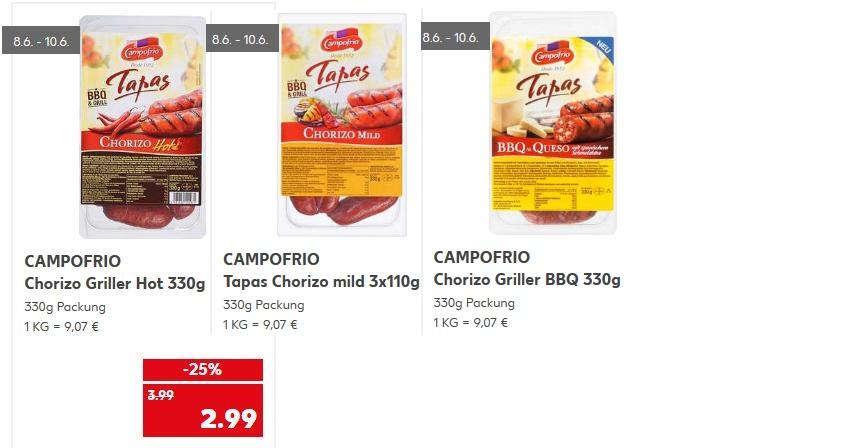 Chorizo Tapas zu grillen, Kaufland, Deutschlandweit, endet Heute