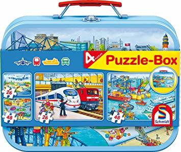 Schmidt-Spiele Puzzle-Box Verkehrsmittel, Mia and Me Mia, Pferde & Bibi und Tina im Metallkoffer für je 9,74€ (Amazon Prime & Müller)