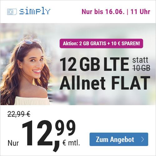 12GB LTE simply Tarif (50 Mbit/s) mtl. 12,99€ inkl. Allnet- und SMS-Flat im Telefonica-Netz (u.a. monatlich kündbar)