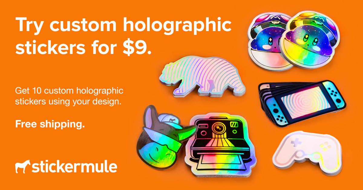 Stickermule: 10 holografische Sticker für 8€