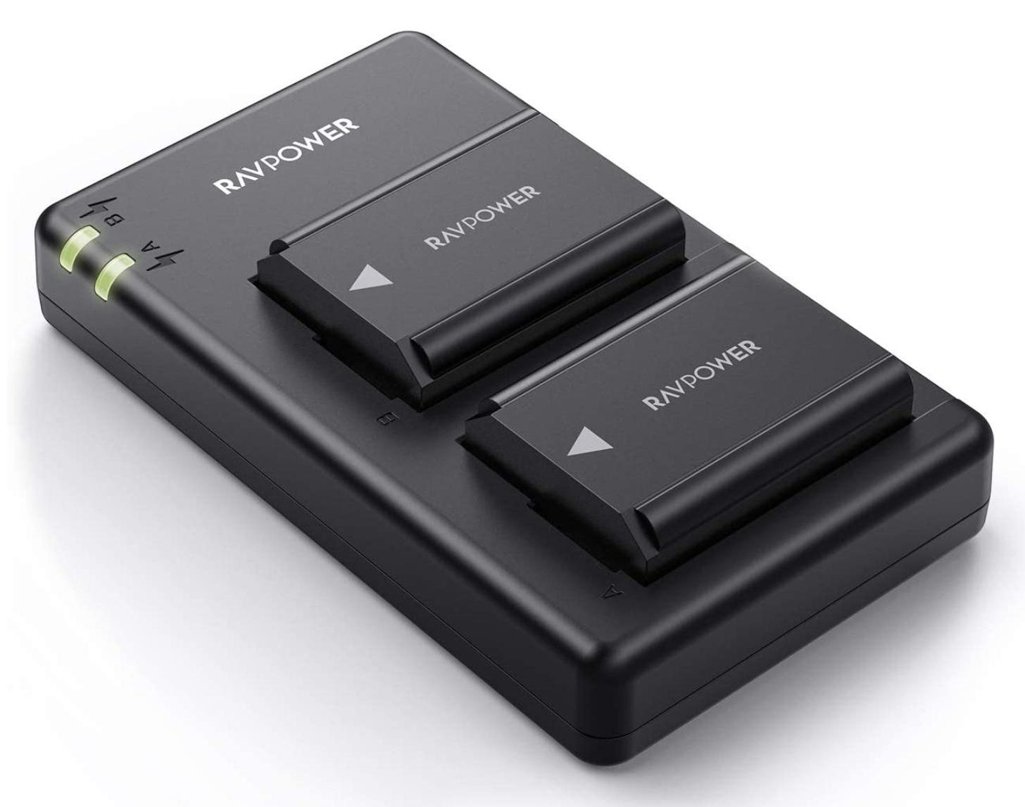 [Amazon Prime] RAVPower NP FW50 Akku (2 Stück) und USB Ladegerät für Sony Alpha 7 / 7 ii uvm., Ersatzakkus 1100mAh