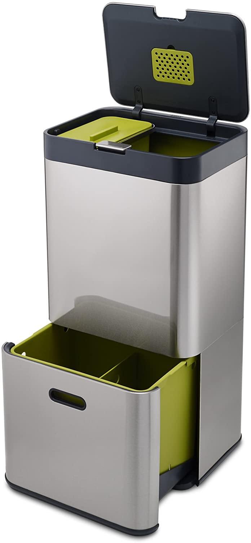 Joseph Joseph IntelligentWaste Totem 60 - Abfallbehälter mit separater Recycling-Einheit, inkl. Biomüll-Caddy, 60 Liter