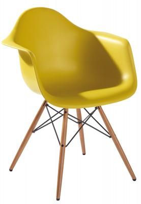 Vitra DAW Eames Plastic Armchair, senf, Gestell Ahorn gelblich, Lagerabverkauf [Wohn-Design.com] 20 € NL Gutschein und 3% Skonto möglich