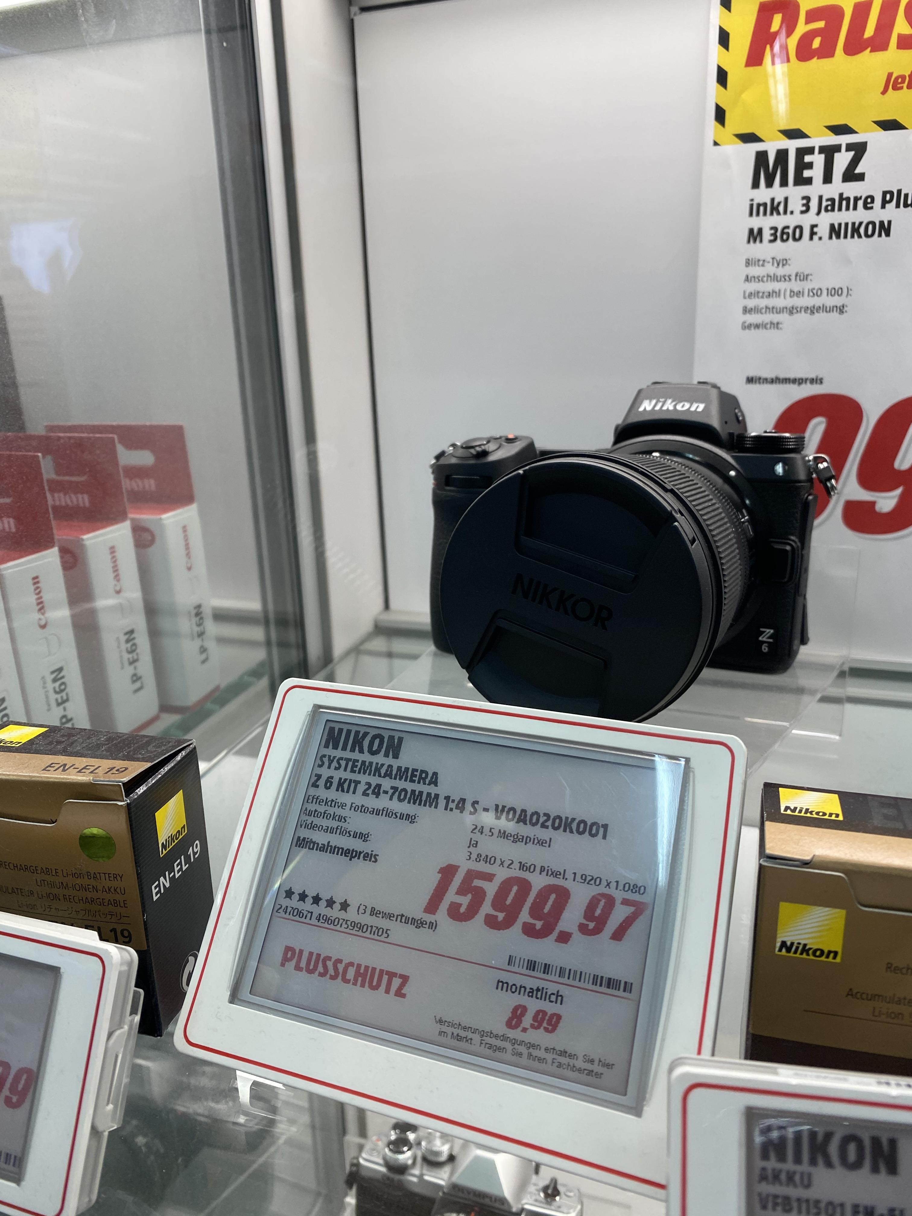 [Lokal Media Markt Bonn Friedensplatz] Nikon Z6 + Nikkor Z 24-70mm f/4,0 S - 1599,97€