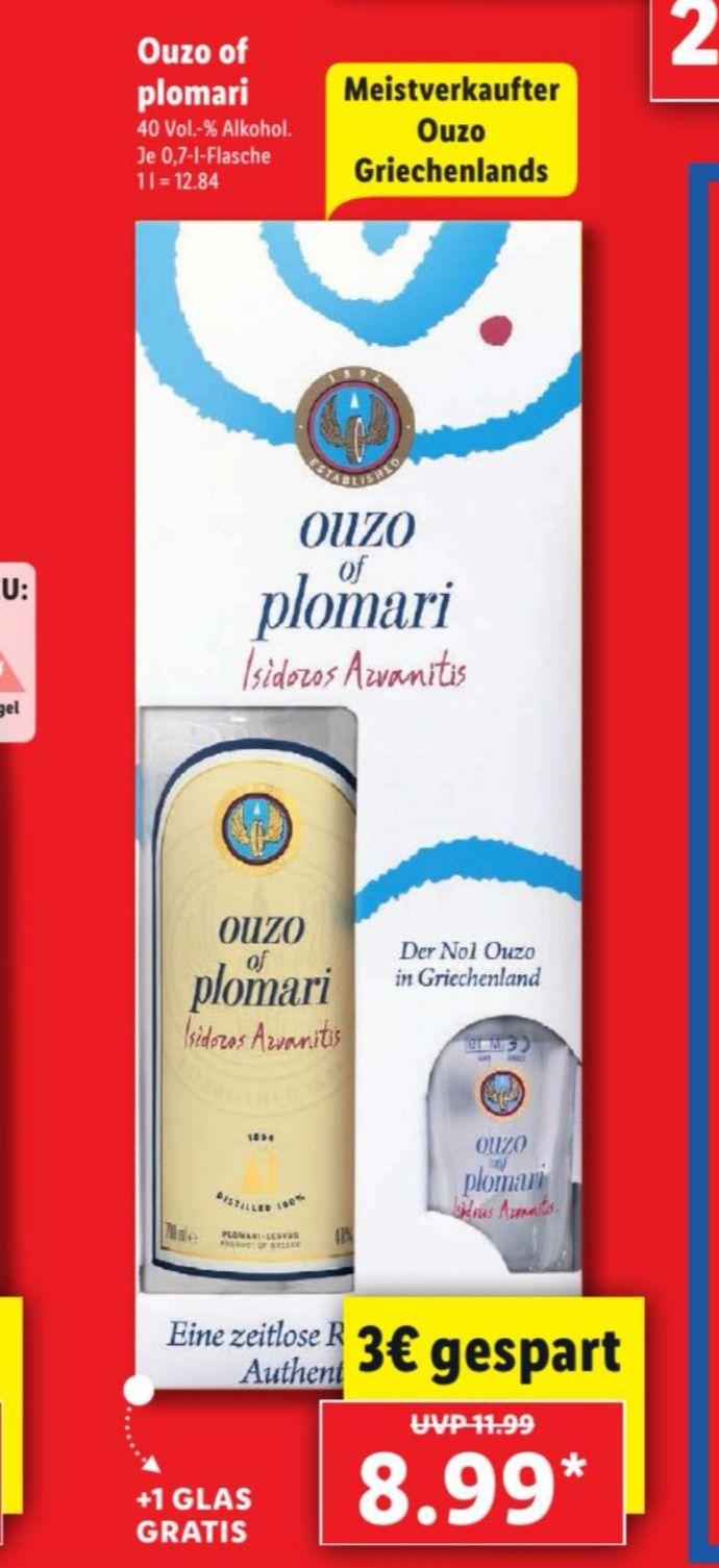 [Lidl offline] Ouzo of Plomari ab 15. Juni mit Glas für 8,99