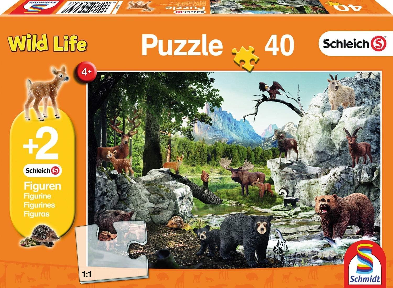 Schmidt Spiele Schleich - Die Tiere des Waldes, Kinderpuzzle 40 Teile + 2 Schleich-Figuren für 5,84€ (Amazon Prime)