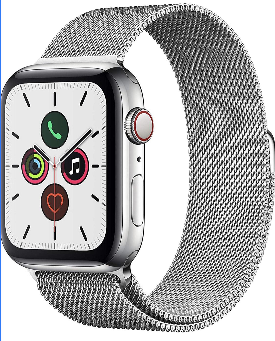 Apple Watch Series 5 44mm Edelstahl Gehäuse mit Milanaise Armband