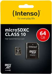 Intenso Micro SDXC 64GB für 7,19€ o. 32GB für 4,79€ Class 10 Speicherkarte inkl. SD-Adapter [Amazon Prime]