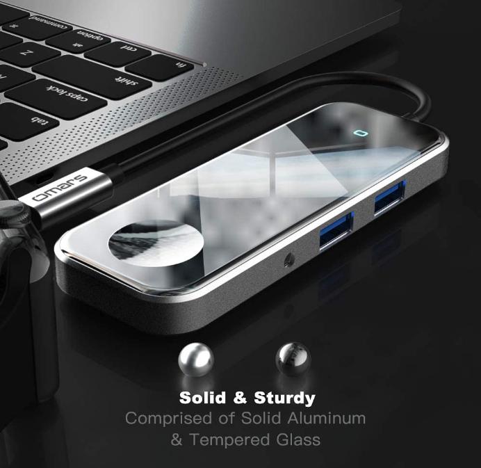 Omars Eclipse USB C HUB 6in1 mit Kabelloses Laden, USB C-PD 100 W, USB-Hub C auf HDMI 4K, 2x USB 3.1, 3,5-mm-AUX-Buchse (Amazon)