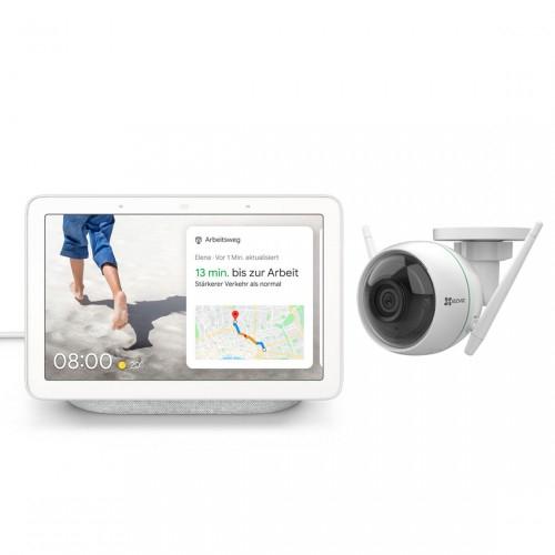 Google Nest Hub mit Überwachungskameras von EZVIZ (3 Modelle) im Angebot