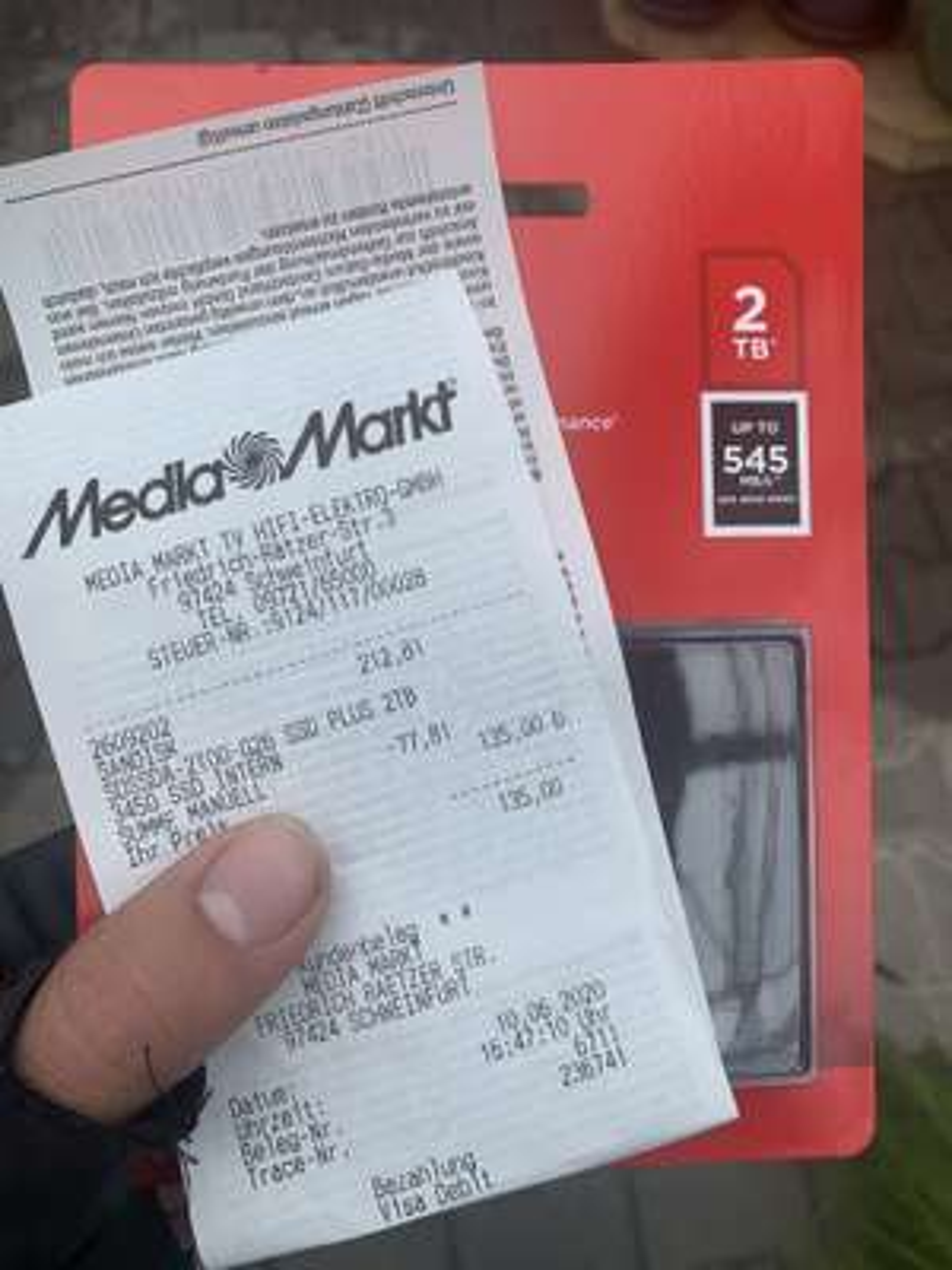 (Lokal Media Markt Schweinfurt Hafen) 2TB SanDisk SSD Plus (SDSSDA-2T00-G26) für 135,-€