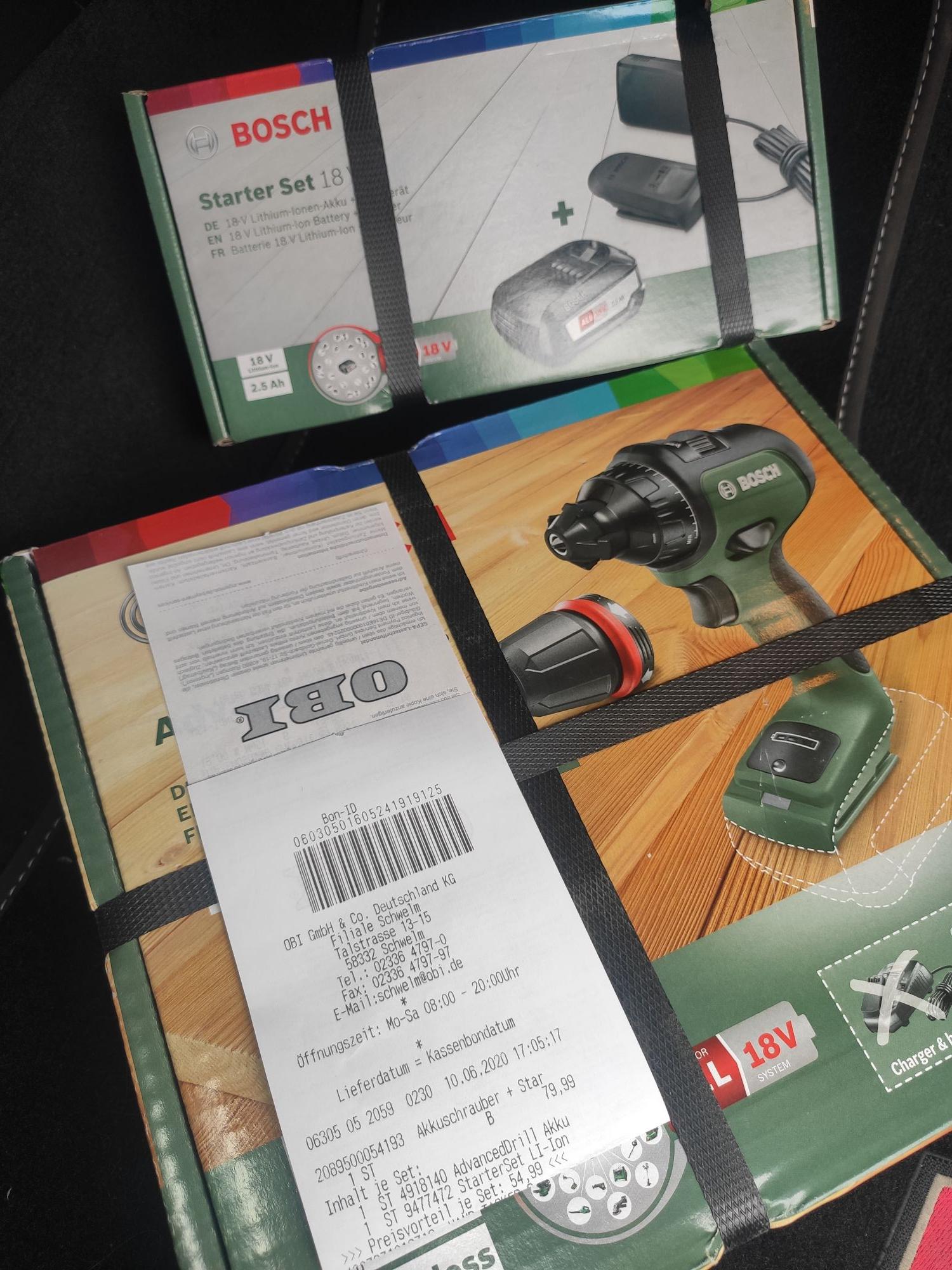 Bosch Advanced Drill 18 Akku- Schrauber/ Bohrer + Starter Set 18V 2,5A OBI