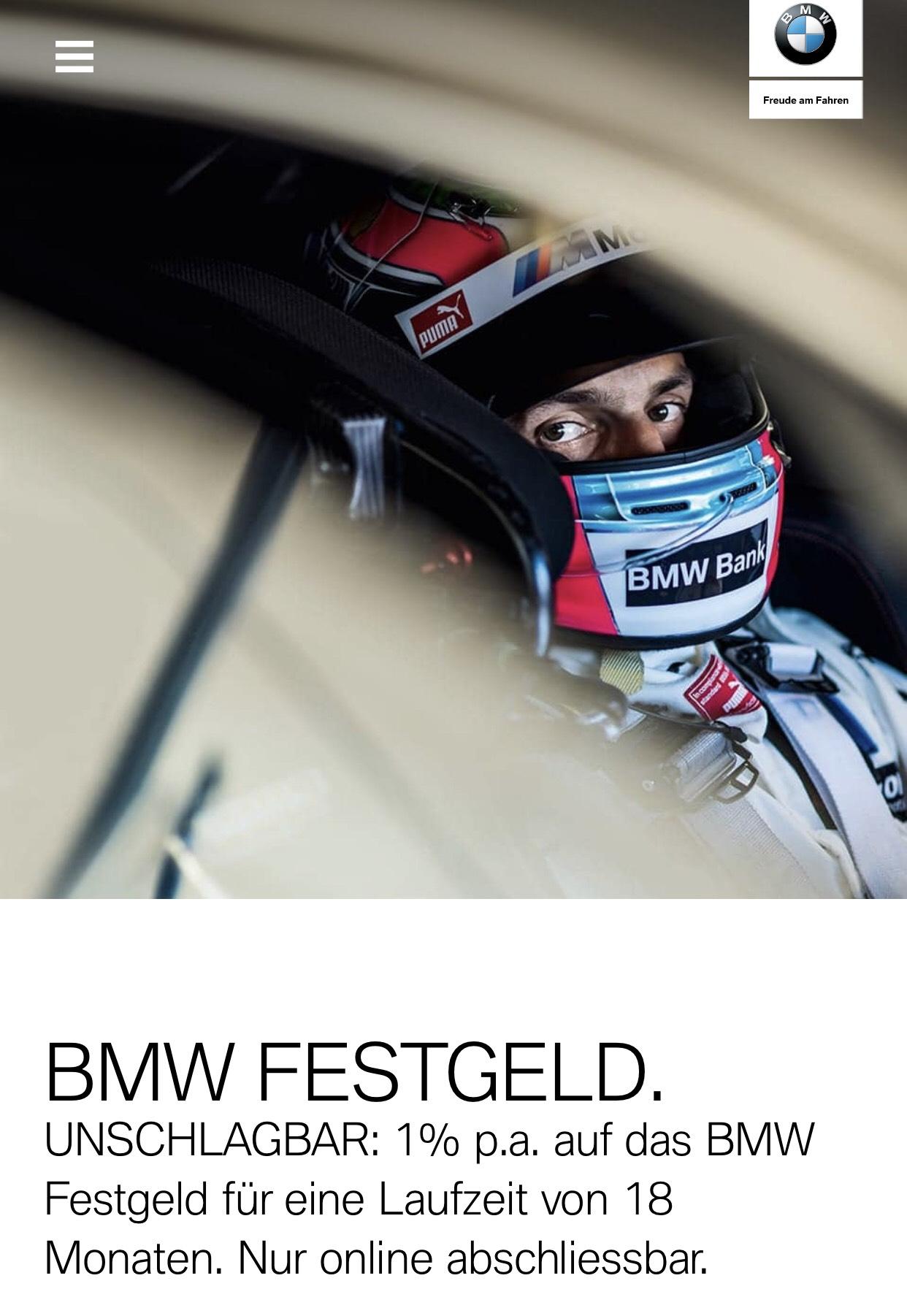 BMW Festgeld 1% für 18 oder 24 Monate / 0,65% p.a. für 6 Monate