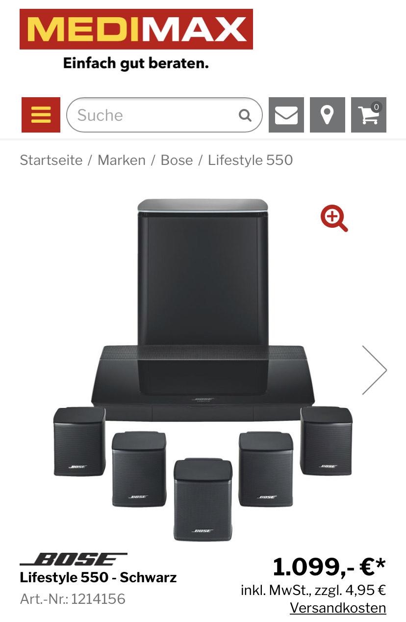 BOSE Lifestyle 550 - Schwarz | Heimkino-Systemanlage 5.1 | Dolby Digital Plus, DTS, Dolby TrueHD | 1.103,95 €