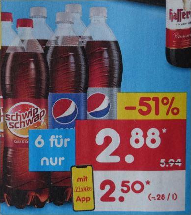 Pepsi oder Schwip Schwap, 6 x 1,5 Liter, verschiedene Sorten für 2,50 Euro / 42 Cent pro Flasche [Netto MD mit Netto APP]
