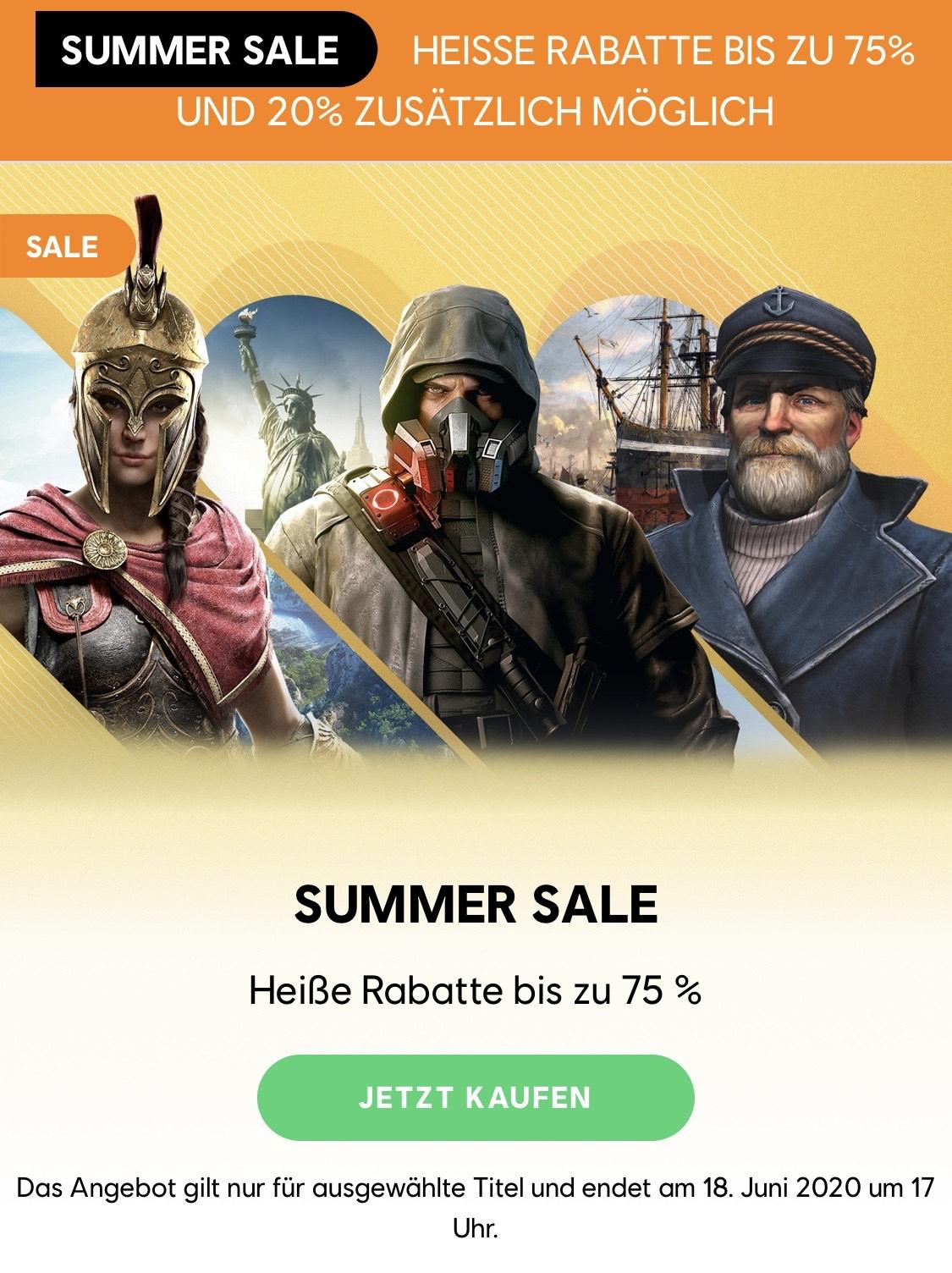 Ubisoft Summer Sale bis zu 80% Rabatt
