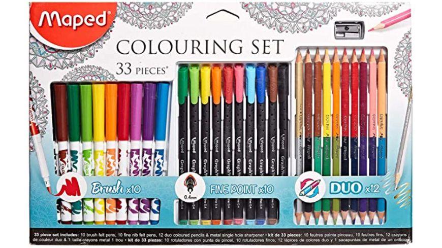 MAPED Mal und Colouring Set 33er Kartonetui Fasermaler, Fineliner, Dreikant-Buntstift für 8,49€ (Müller Abholung)