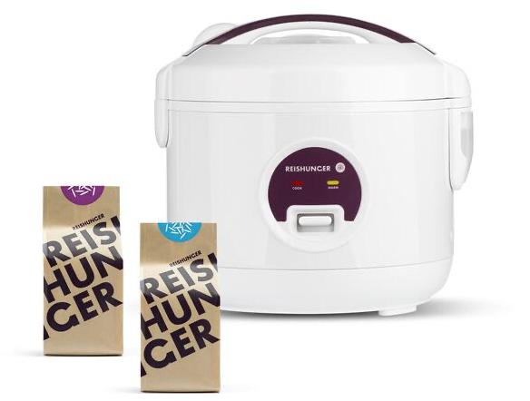 Reishunger Reiskocher 0,6l reduziert plus Bio Basmati und Jasmin Reis 200g Bundle