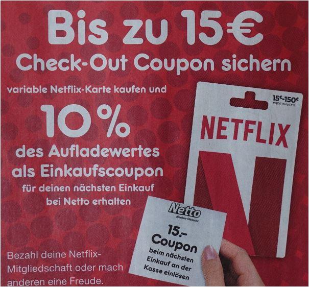NETFLIX-Karte kaufen und 10% als Einkaufsgutschein erhalten [Netto MD]