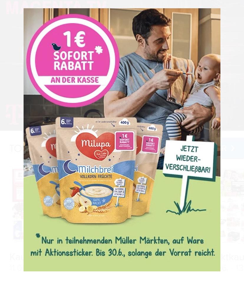 [Müller] Milupa Milchbrei Sofort Rabatt 1€ auf Aktionspackungen
