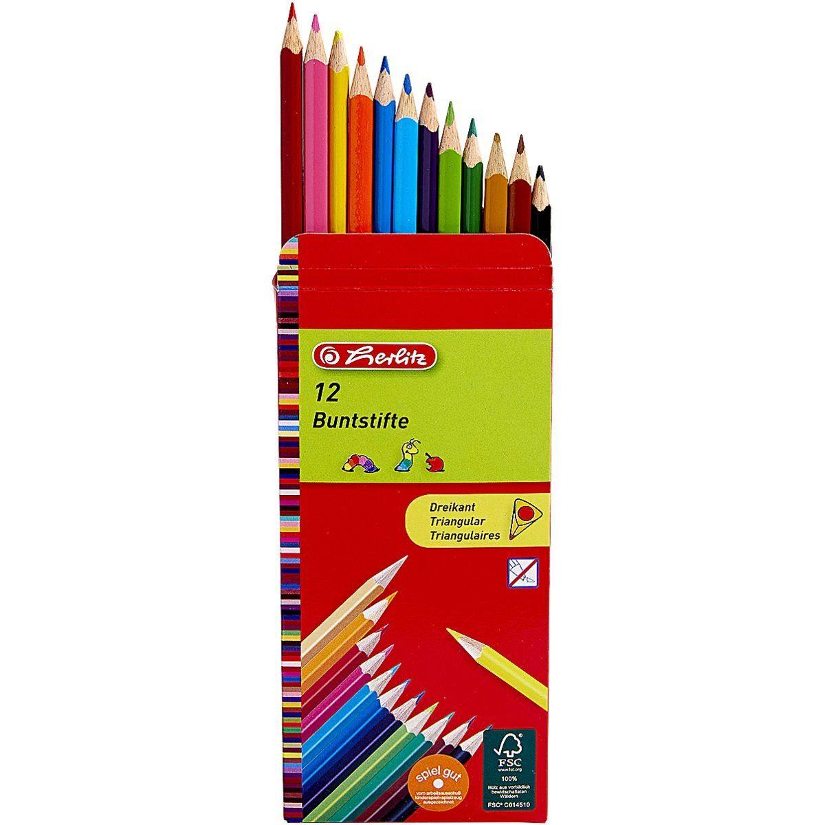 Herlitz Dreikantbuntstifte 12er lackiert FSC ( Amazon Prime )