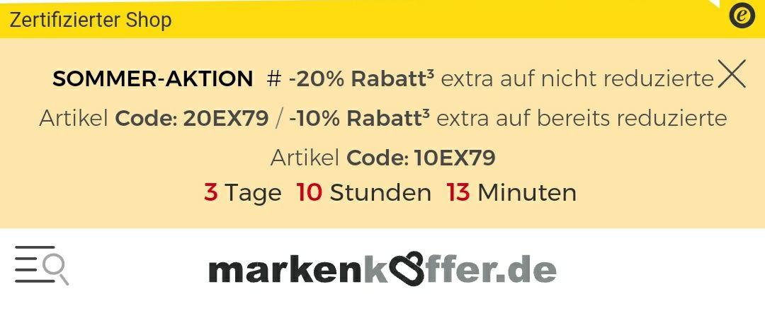 Markenkoffer.de -20% Rabatt³extra auf nicht reduzierte Artikel (10% auf reduzierte Artikel)