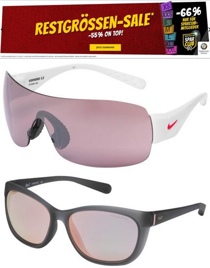 """Restgrößen-Sale mit 55% Rabatt (66% für Sparclub-Mitglieder) z.B. Nike Sonnenbrille """"Run Vomero"""" für 15€ (11,33€) + 3,95€ VSK [SportSpar]"""
