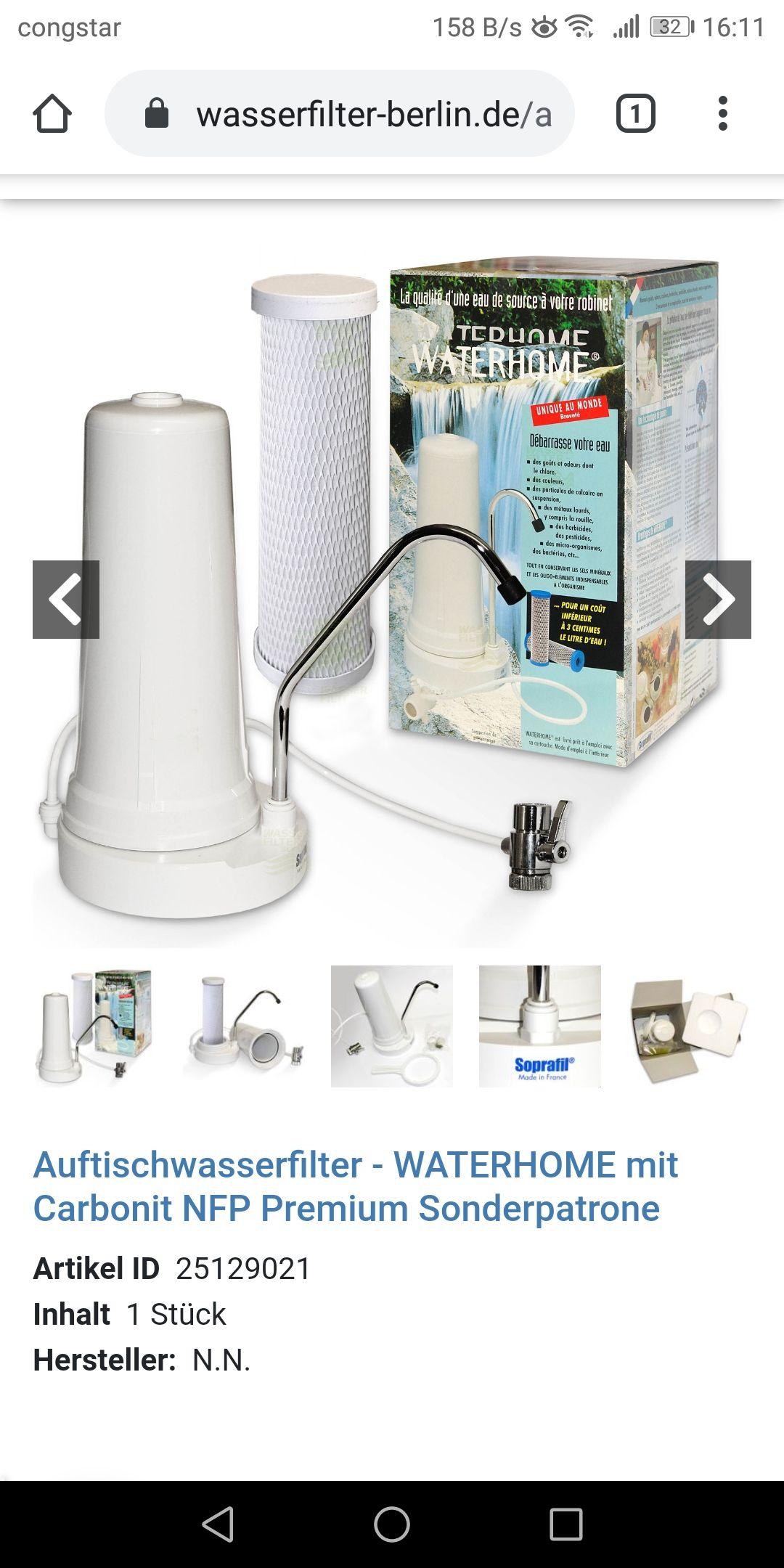 Wasserfilter Waterhome mit 2 Filter