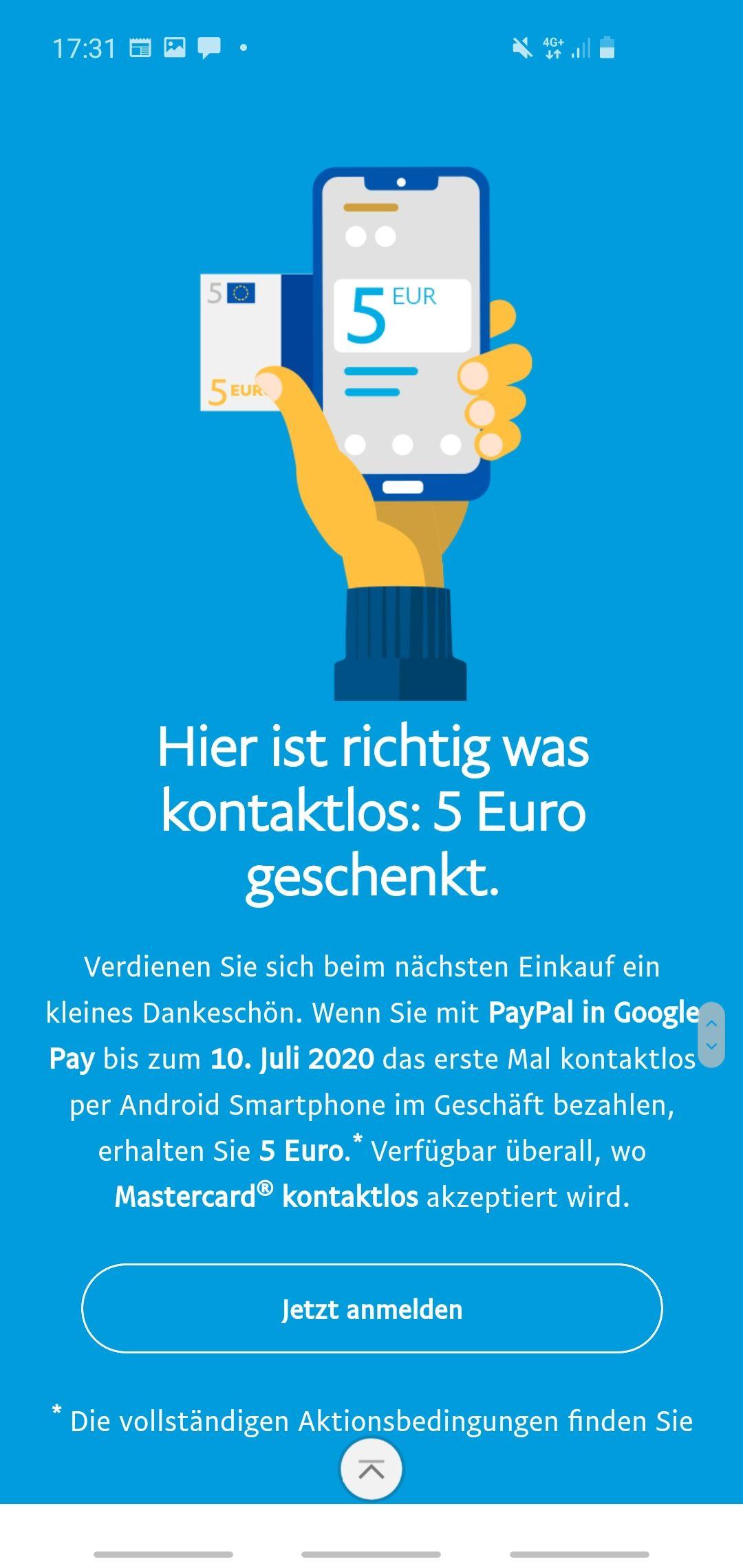 [Paypal] 5€ Erstattung durch erstmaliges Verwenden von Google Pay in diesem Jahr
