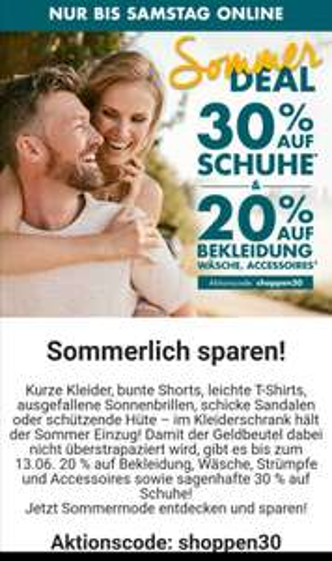 20 bzw 30% bei Galeria Karstadt Kaufhof