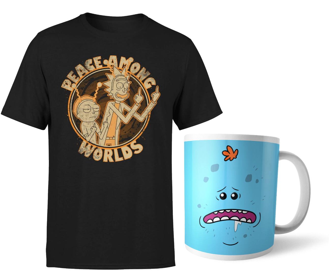 Rick & Morty Bundle: T-Shirt + Tasse (verschiedene Varianten, S bis XXL, 100% Baumwolle)