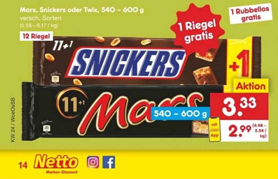 Snickers, Mars oder Twix (12er Pack) bei Netto für 3,33€ (mit App 2,99€)