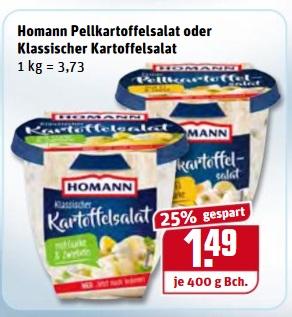 [REWE] Homann Kartoffelsalate 400g Becher 1,09€ effektiv durch Cashback