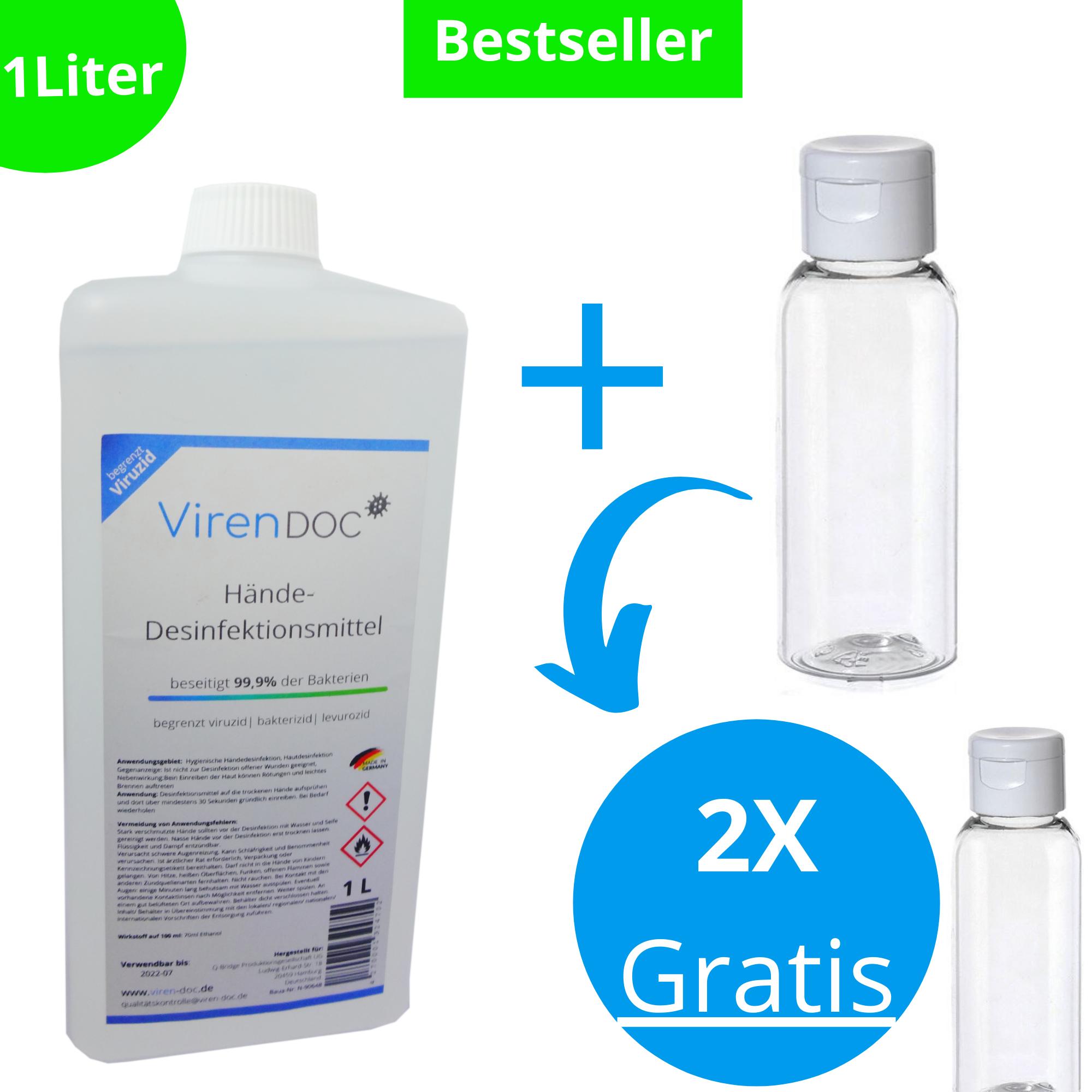Hände-Desinfektionsmittel Von 24,90€ auf 9,99€ + 2x Leerflaschen (Gratis)
