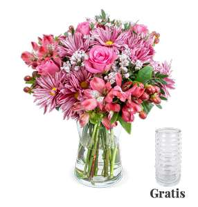 Blumenstrauß 'Süße Grüße' inkl. Vase mit Rosen, Bonnys, Alstroemerien, Hypericum, Schnittgrün