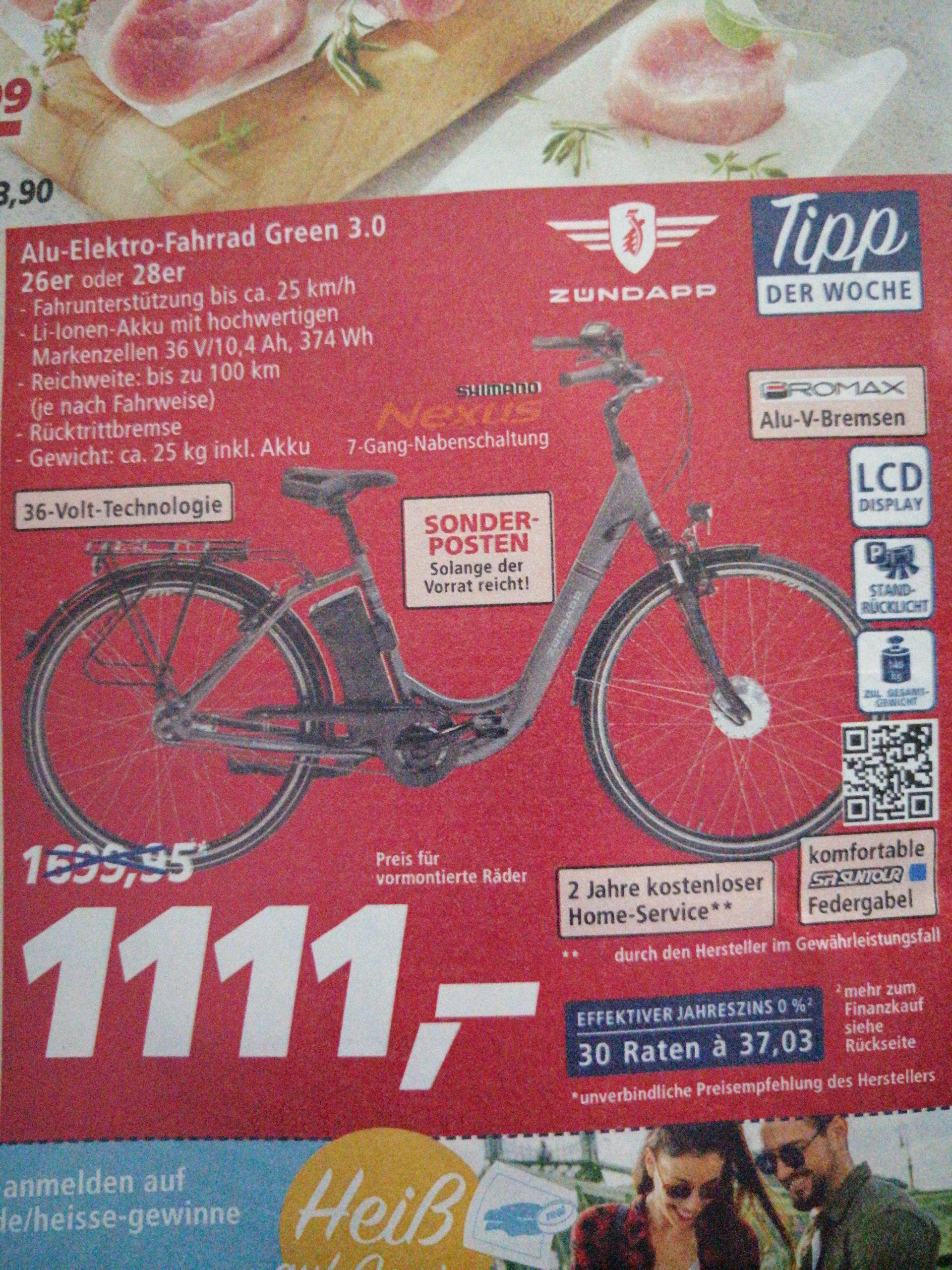Alu elektro-fahrrad green 3.0