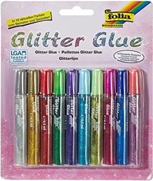 [Amazon Prime] folia 574 - Glitter Glue, Klebestifte mit Glitzer, 10 Stifte sortiert in 10 Farben, je 9,5 ml - zum Bemalen und Verzieren