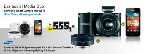 [Conrad] -Samsung NX1000 Systemkamera Kit + 20 - 50 mm Objektiv + 16 mm Objektiv + Samsung Galaxy S Advance