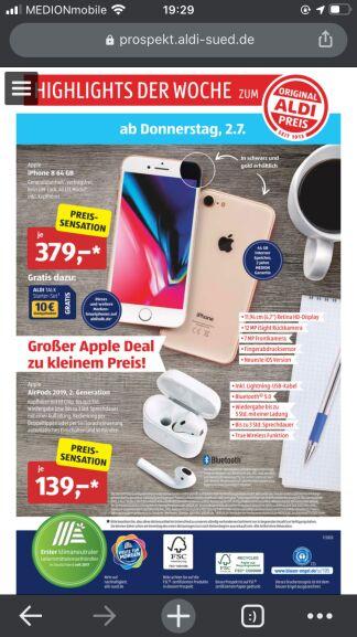 Apple@Aldi Süd: iPhone 8 64GB (Generalüberholt) 379€ || AirPods 2019 2. Gen 139€