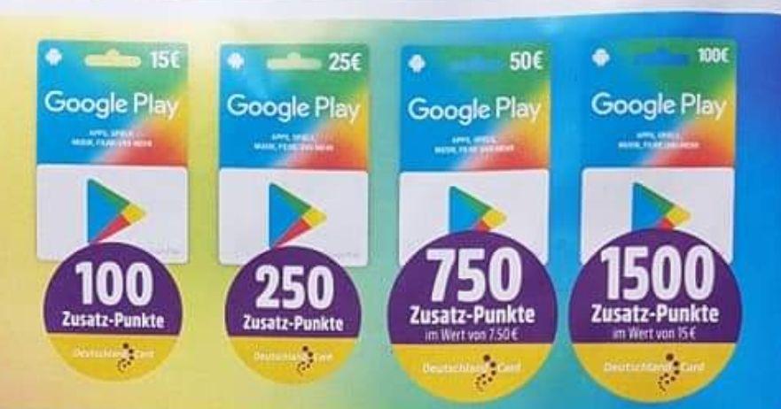 [Netto MD] bis zu 1500 DeutschlandCard Zusatz-Punkte (=15€) für Google Play Store Guthaben-Karten
