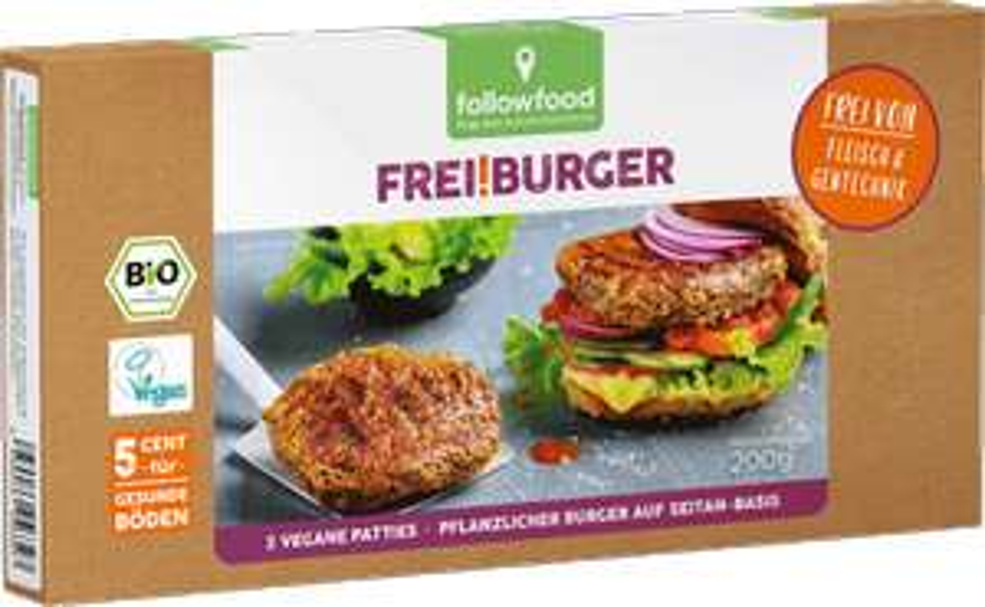[Denn's Biomarkt] Veganer Frei!Burger von followfood auf Seitanbasis & in Bio-Qualität für 3,49€ statt 3,99€
