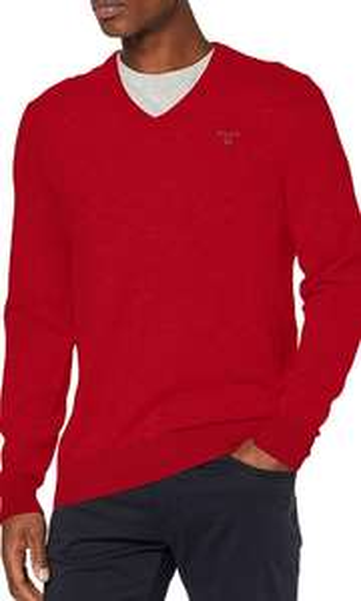 Gant Lambswool V-Neck Pullover rot, alle Größen (Amazon)