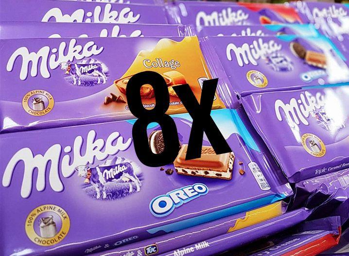 [Edeka Bundesweit + Marktkauf] 8x Milka Schokolade versch. Sorten mit Coupon für 4,28€ [Stückpreis ca 0,54€]